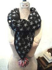 Women's Ladies Teens Juniors BETSEY JOHNSON Infinity Scarf Black w/Silver Stars