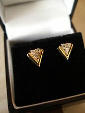 PAIR OF 9 CARAT YELLOW GOLD FANCY DIAMOND STUD EARRINGS MADE IN ENGLAND QUALITY