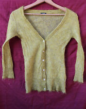 J.CREW small Mohair buttoned CARDIGAN Sweater - mustard yellow