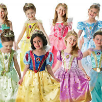 Disney Glitter Princess Girls Deluxe Fancy Dress Kids Child Costume Outfit 3-8 Y
