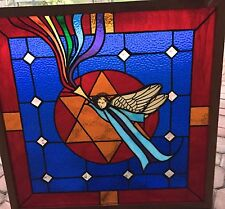 Antique LEADED / STAINED GLASS Cobalt Blue ANGEL Church/ Temple Window 25 x 25