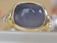 $650 DAVID YURMAN 14/K,SS BLUE CHALCEDONY SMALL NOBLESSE RING sz 6