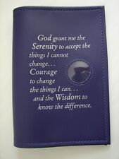 Al Anon Works B-22 Serenity Prayer and Coin Holder Vinyl Purple Book  Cover