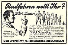 NSU Fahrrad Sulm Neckarsulm Reklame von 1929 Kinder Vater Rad Werbung bike ad