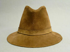 Vtg Hippie Suede Leather Travel Bucket Style Hiking Trail Outdoor Sports Hat XL
