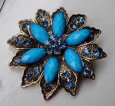 ZP409 Vintage Victorian Style Brooch Blue Leaf Beautiful Floral Flower Crystals