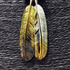 Goro's Handmade 925 Silver Feather Pendant+L Size x2 +Dot Gold Wheel