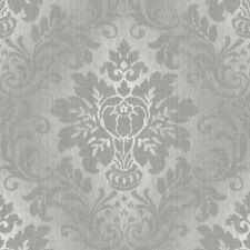 Royal Fabric Damask Wallpaper by Grandeco - Silver A10904
