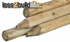2.4M X 75MM MACHINED ROUND POINTED GARDEN TIMBER FENCE POST WOODEN TREE STAKES !