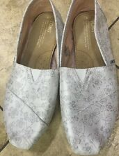 TOMS ❤Silver Metallic Brocade Slip-on Flats Shoes Women's Size 9