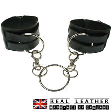 Black New Handmade 100% Real Leather Ring Studded Design Handcuff Made In UK