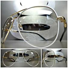 VINTAGE RETRO Style SUN GLASSES Gold & White Frame Clear Lens with Slight Tint