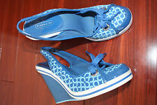 Coach EMILANNA Blue WEDGE Slingback Sandals Shoes Womens 6