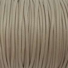 5 YARDS - 2MM Light Beige Woven Braided Waxed Cotton Cording Trim #47