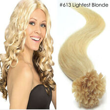 "18"" U Nail Tip Real Remy Human Hair Extensions #613 Lightest Blonde 100S 50G/Set"