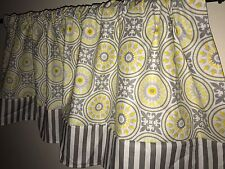 Yellow And Gray Flower Striped Border Any Room Curtain Valance