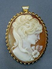 1940s FINE VINTAGE 9CT HM GOLD MOUNT CARVED SHELL LADY CAMEO PENDANT BROOCH/PIN