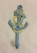 Cast Iron Anchor Dolphin Wall Hanger Towel Hook Nautical Beach Cottage Decor