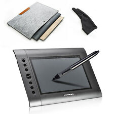 Huion H610 Graphics Drawing Tablet Pro Art drawing+Glove+Wool Felt Liner Bag US