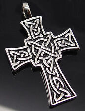 """Celtic Knot Cross Silver Tone Pewter Pendant with 20"""" Necklace PP#261"""