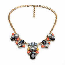 Exquiste Anthropolo​​gie Yasmina Fly Yellow Orange Blue Gemmed Chain Necklace