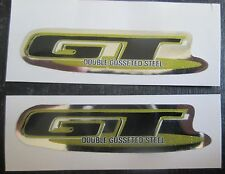"""Set of 2 """"GT DOUBLE GUSSETED STEEL"""" Decal Stickers BLACK/GOLD/CHROME"""