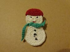 Christmas Winter Snowman Pin Brooch with Scarf Hat Cloth Crochet