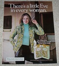 1975 ad page -Eve cigarettes Sexy girl in flower shirt smoking PRINT ADVERTISING