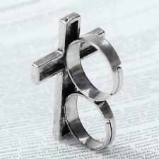 Vintage Retro Punk Men Women Adjustable Alloy Cross Two Double Finger Ring Xmas