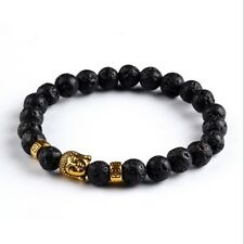Lava Stone Beaded Gold Buddha Head Bracelet/Bangle/buddhist/hinduism/8mm beads