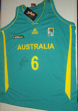 Andrew Bogut hand signed Australian Boomers Basketball jersey green+ photo proof