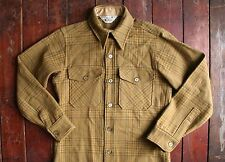 VTG 70s WOOLRICH GREEN PLAID CHECK WOOL SHIRT LUMBERJACK ROCKABILLY USA SMALL 36