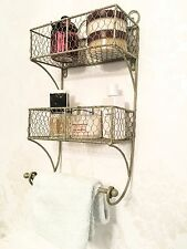 Shabby Chic Shelf Unit French Vintage Storage Basket Display Bathroom Towel Rail