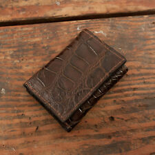 Brown Alligator Trifold Wallet Amish Hand Made from Genuine Gator Skin Tri Fold