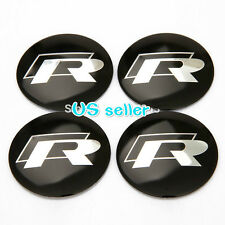 4X Fit  VW R WHEEL CAPs Alloy  EMBLEM  Stickers 56mm 3D Tiguan Polo Golf R36