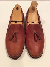 Men's Bally Saloro Light Brown Leather Shoes Sz 10 D Made In Italy