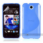 BLUE S CURVE GEL TPU Jelly CASE COVER FOR Telstra HTC Desire 300