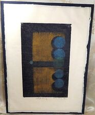 R C ELLIS 1965 ABSTRACT CUBIST COLOR WOODBLOCK PRINT SIGNED ARTIST PROOF MODERN