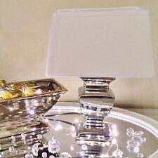 SILVER LADY 43 cm Tischlampe WEIß Silber Shabby Chic Tischleuchte Keramiklampe