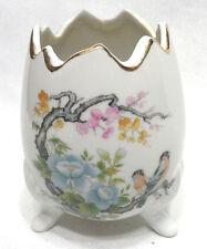 Cute Andrea by Sadek Easter Egg Footed Floral w Birds Vase / Planter Vintage