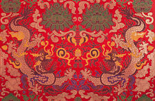 "28"" ORIENTAL ROYAL RED DAMASK JACQUARD BROCADE TAPESTRY FABRIC : DOUBLE DRAGONS"