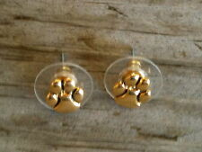Tiny Gold Paw Print Gold Plated Post Earrings