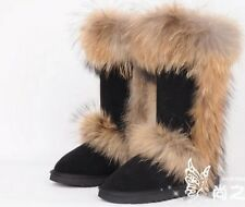 women's winter boots fox fur  real leather  black  browm   color