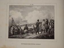 RARE Litho Suèdoise NAPOLEON PASSAGE du DANUBE DONAU WIEN OSTERREICH EMPIRE 1825