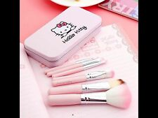 Professional Pink Hello Kitty Cosmetic Makeup Brush 7 Pcs Set Kit Pouch Bag