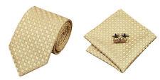 Yellow Tan Novelty 100% Silk Classic Mens Necktie Tie Hanky Cufflink Set NT100