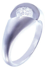 14k White Gold Round Cut Diamond Engagement Ring Semi Tension Solitaire 0.50ct