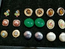 VINTAGE CLIP EARRING LOT 9 PR. MEDIUM BUTTON STYLE, OPAL, AMBER, PEARLS,CAMEO