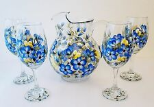 Blue and Yellow Flower Pitcher & 4 Wine Glasses Hand Painted by Lia