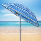 BLUE STRIPED OUTDOOR GARDEN POLYESTER TILTING PARASOL SUN SHADE BEACH UMBRELLA